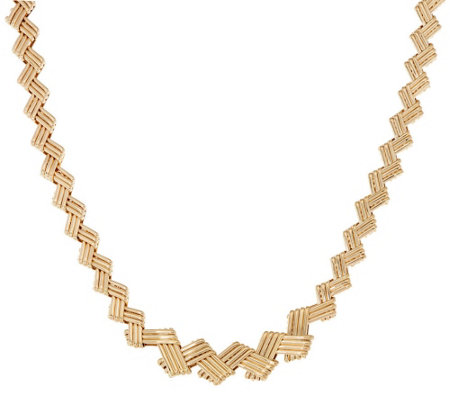 "14k Gold 18"" Woven Cross Hatch Graduated Necklace, 21.9g"