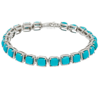 "Sleeping Beauty Turquoise 7-1/4"" Sterling Silver Tennis Bracelet - J324053"