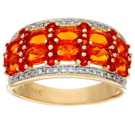 Mexican Fire Opal & Diamond Band Ring 14K Gold 1.40 cttw