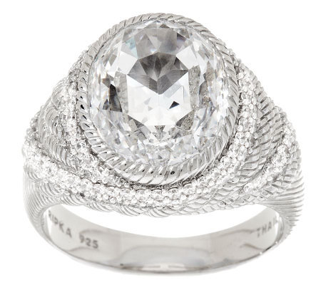 """As Is"" Judith Ripka Sterling 11.3 ct 100- Facet Oval Diamonique Ring"