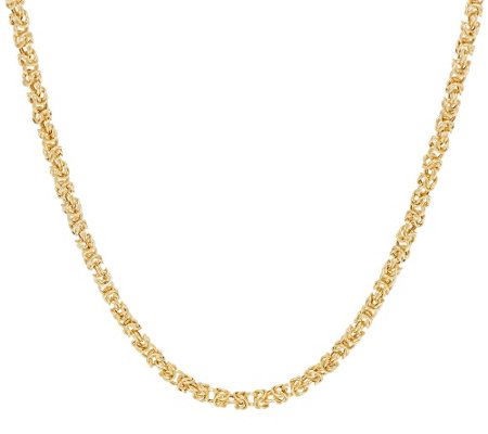 "14K Gold 24"" Dimensional Byzantine Chain Necklace, 8.6g"