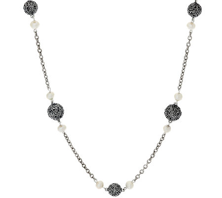 "Sterling Silver 24"" Lace Bead & Cultured Pearl Necklace by Or Paz"
