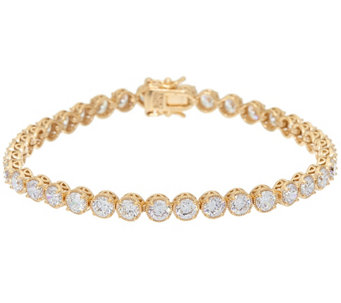Diamonique Textured Tennis Bracelet Sterling or 14K Clad - J327353