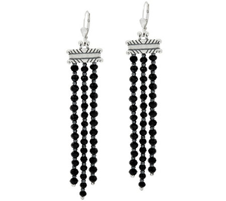 """As Is"" 24 cttw Black Spinel & Hematite Sterl. Earrings by American West"