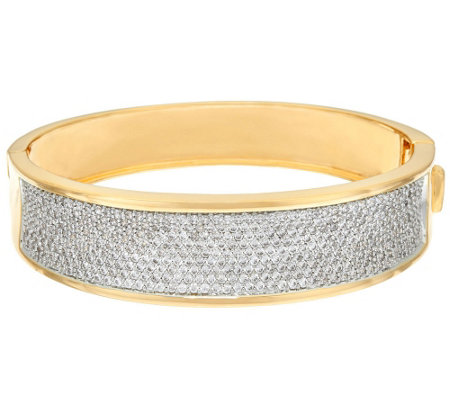 """As Is"" Bronzo Italia Pave' Crystal Oval Hinged Bangle"