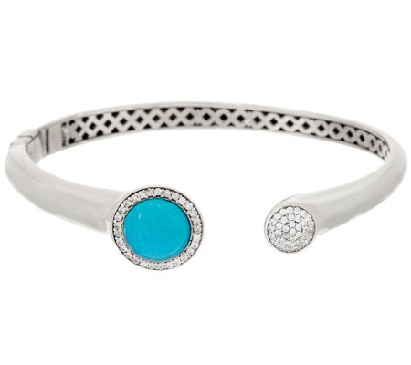 """As Is"" Italian Silver Sterling Turquoise & Crystal Cuff Bangle"