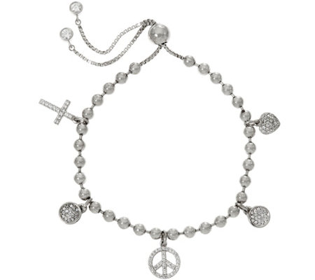 Diamonique Adjustable Multi-Charm Bracelet, Sterling