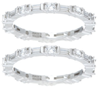 Diamonique Set of 2 Round and Baguette Eternity Bands, Sterling - J329553