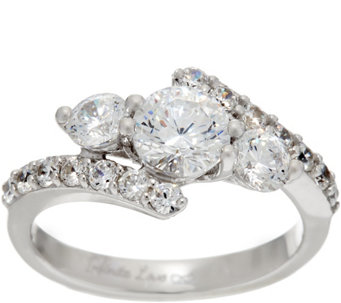 Diamonique Infinite Love 3-Stone 88 Facet Ring, Platinum Clad - J330253
