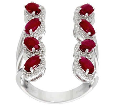 Mozambique Ruby & Diamond Elongated Sterling Ring 2.00 cttw