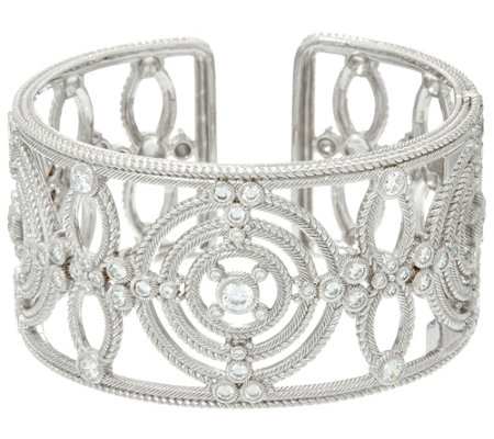 Judith Ripka Sterling Multi Circle 3.80 cttw Diamonique Cuff Bracelet