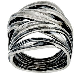 Sterling Silver Bold Crossover Ring by Or Paz - J331453