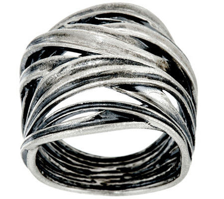 Sterling Silver Bold Crossover Ring by Or Paz