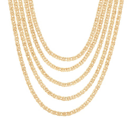"14K Gold 18"" 5-Strand Byzantine Layered Necklace, 31.5g"