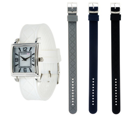 """As Is"" Isaac Mizrahi Live! Interchangeable Silicone Strap Watch"