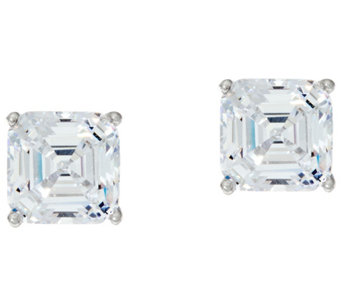 Diamonique 3.00 ct tw Asscher Cut Stud Earrings Platinum Clad - J332753