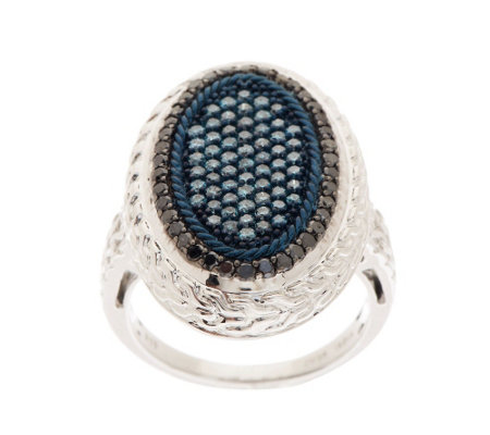 """As Is"" Pave' Blue & Black Oval Diamond Ring Ster 1cttw by Affinity"