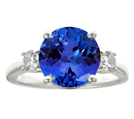 Premier 4.25ct Tanzanite & 3/10cttw Diamond Ring, 14K
