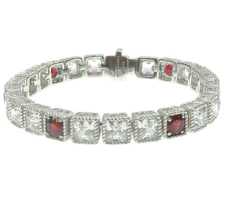 "Judith Ripka Sterling 8-1/4"" Diamonique & Ruby Tennis Bracelet"