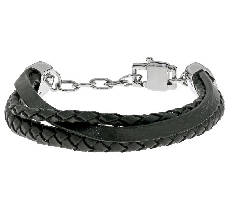 Stainless Steel and Multiple Rows Leather Bracelet