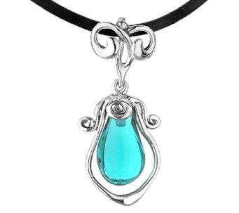 Kalos by Hagit Sterling Turquoise Pendant & Leather Necklace - J338053