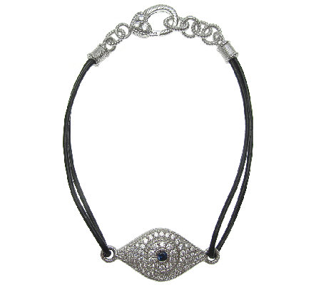 Judith Ripka Sterling Diamonique & Leather Evil Eye Bracelet