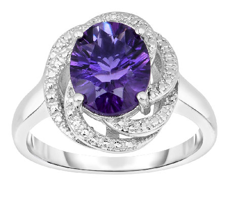 2.00cttw Amethyst Swirl Design Ring, Sterling