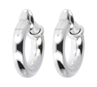 "UltraFine Silver 1"" Polished Clip-On Hoop Earrings - J339953"
