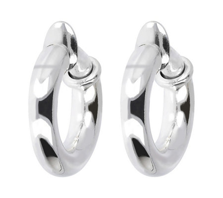 "UltraFine Silver 1"" Polished Clip-On Hoop Earrings"