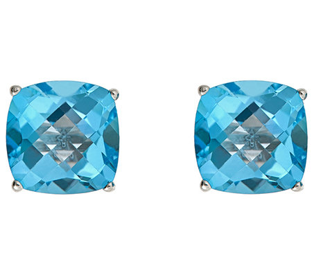 Gemstone Check-Top Cushion Stud Earrings, Sterling Silver