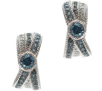 Judith Ripka Sterling Blue Topaz & Diamonique J -Hoop Earrings - J340553