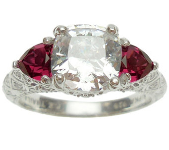 Judith Ripka Sterling Diamonique & Simulated Ge mstone Ring - J340653