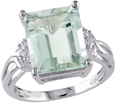 5.60cttw Emerald Cut Green Amethyst Ring, Sterling Silver