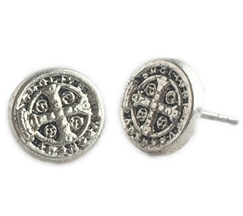 My Saint My Hero Benedictine Silvertone Stud Earrings - J340953