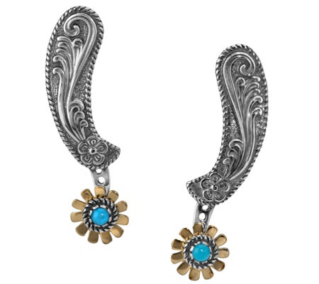 American West Sterling Turquoise Floral Spur Earrings