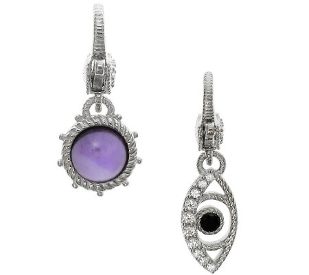 Judith Ripka Sterling Amethyst and Evil Eye C harm Set