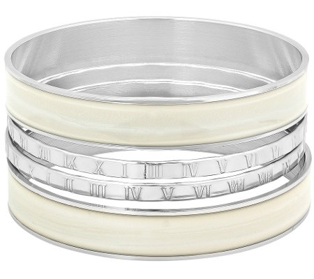 Stainless Steel Set of Four Slip-On Bangles