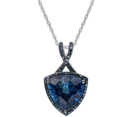 5.00 ct Blue Topaz & 3/10 cttw Diamond Pendantw/Chain, 14K