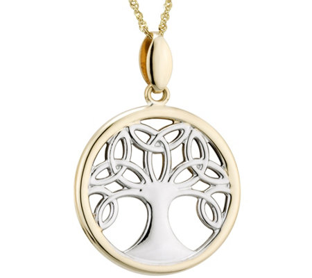 Solvar Two-Tone Celtic Family Tree Pendant w/ Chain, 14K
