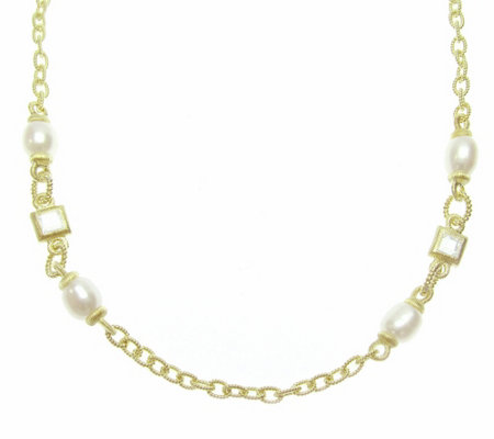 "Judith Ripka Diamonique Cultured Pearl 20""L Necklace, 14K Cla"
