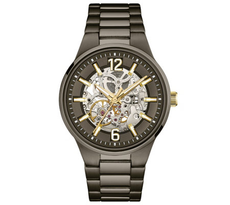 Caravelle New York Men's Automatic Watch, Transparent Dial