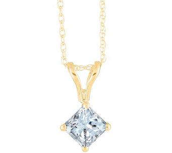 Princess-Cut Diamond Pendant, 14K Yellow, 1/4cttw, by Affinity - J345053