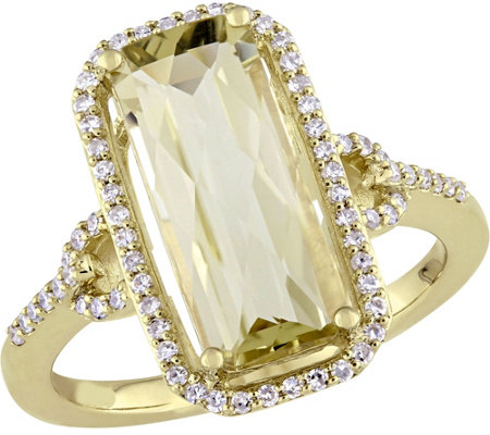 14K Gold 2.90 ct Lemon Quartz & 1/4 cttw Diamond Ring