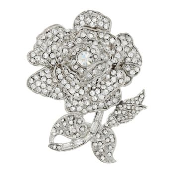 Joan Rivers Simulated Diamond Rose Brooch