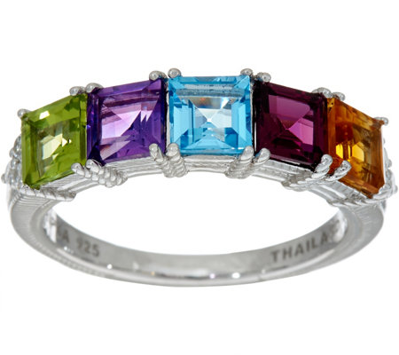 Judith Ripka Sterling Silver 2.90 cttw Multi Gemstone Ring