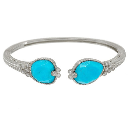 Judith Ripka Sterling Silver Turquoise & Diamonique Cuff Bracelet