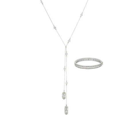 Carolee Lincoln Square Baguette Crystal Lariat Necklace Set