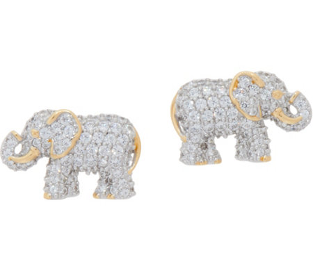 TOVA for Diamonique Elephant Stud Earrings, Sterling