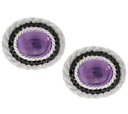 """As Is"" Judith Ripka Sterling Amethyst with Spinel Earrings"