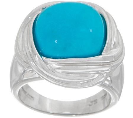Turquoise Cushion Cut Ring, Sterling Silver